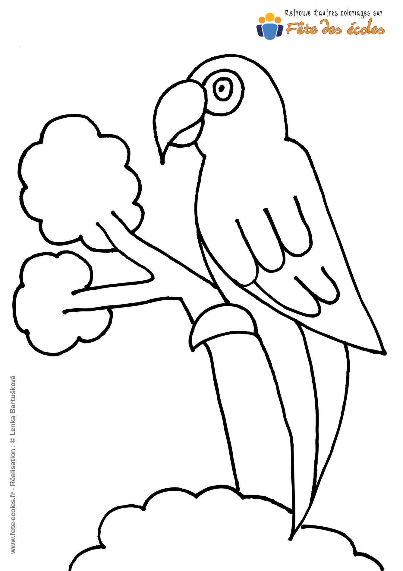 Coloriage perroquet sur sa branche
