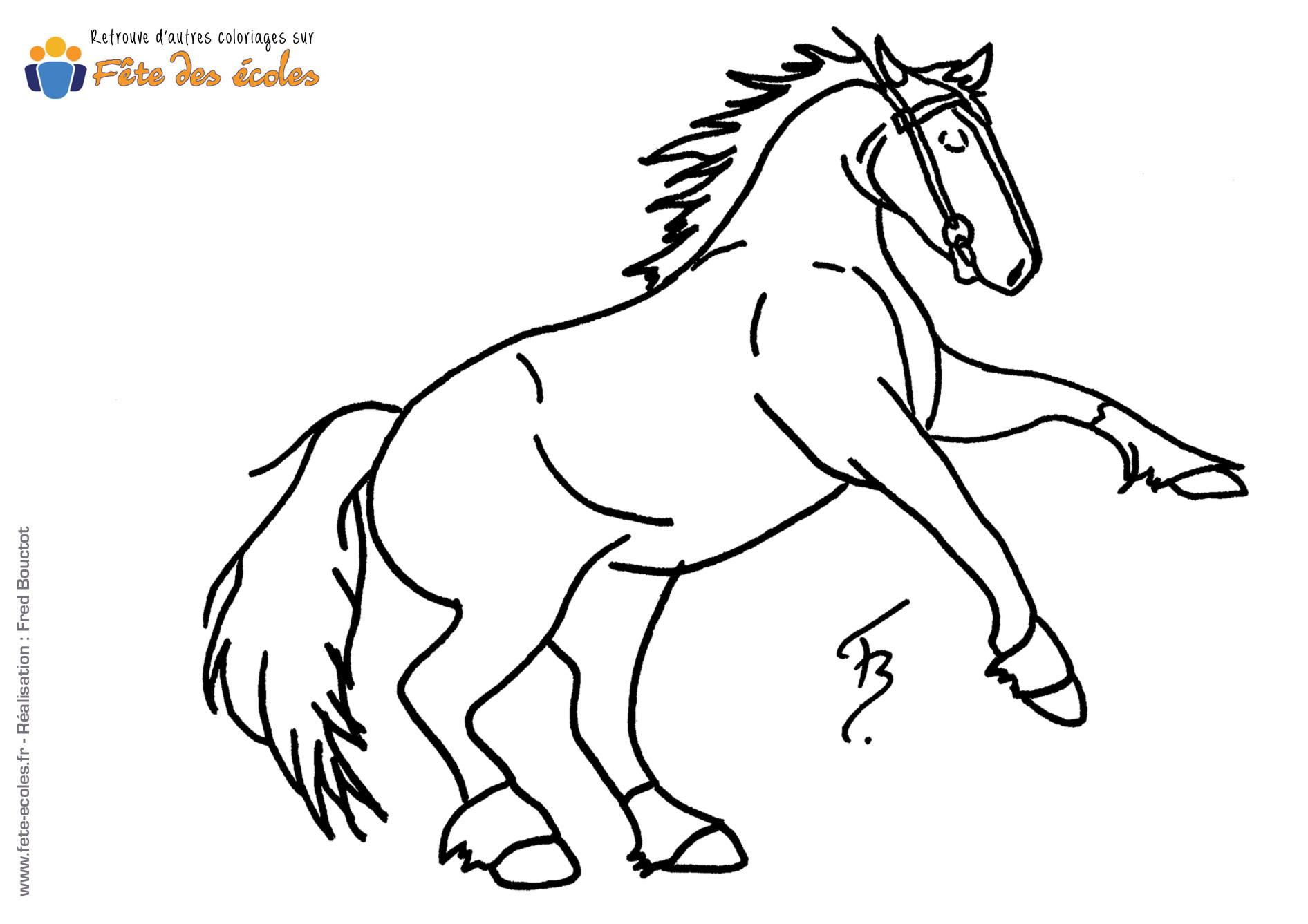 Frais coloriage de cheval qui saute haut - Cheval qui saute dessin ...