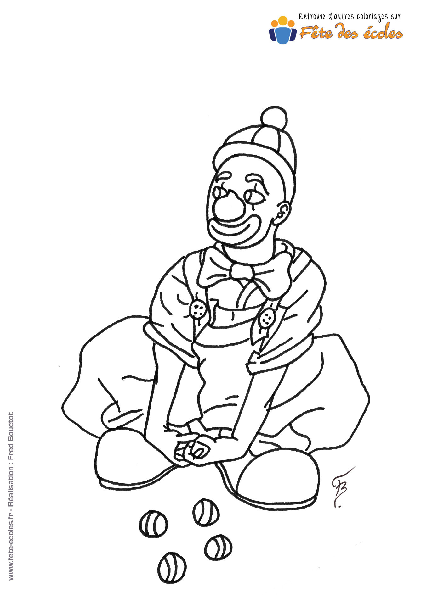 Coloriage d'un clown qui jongle assis