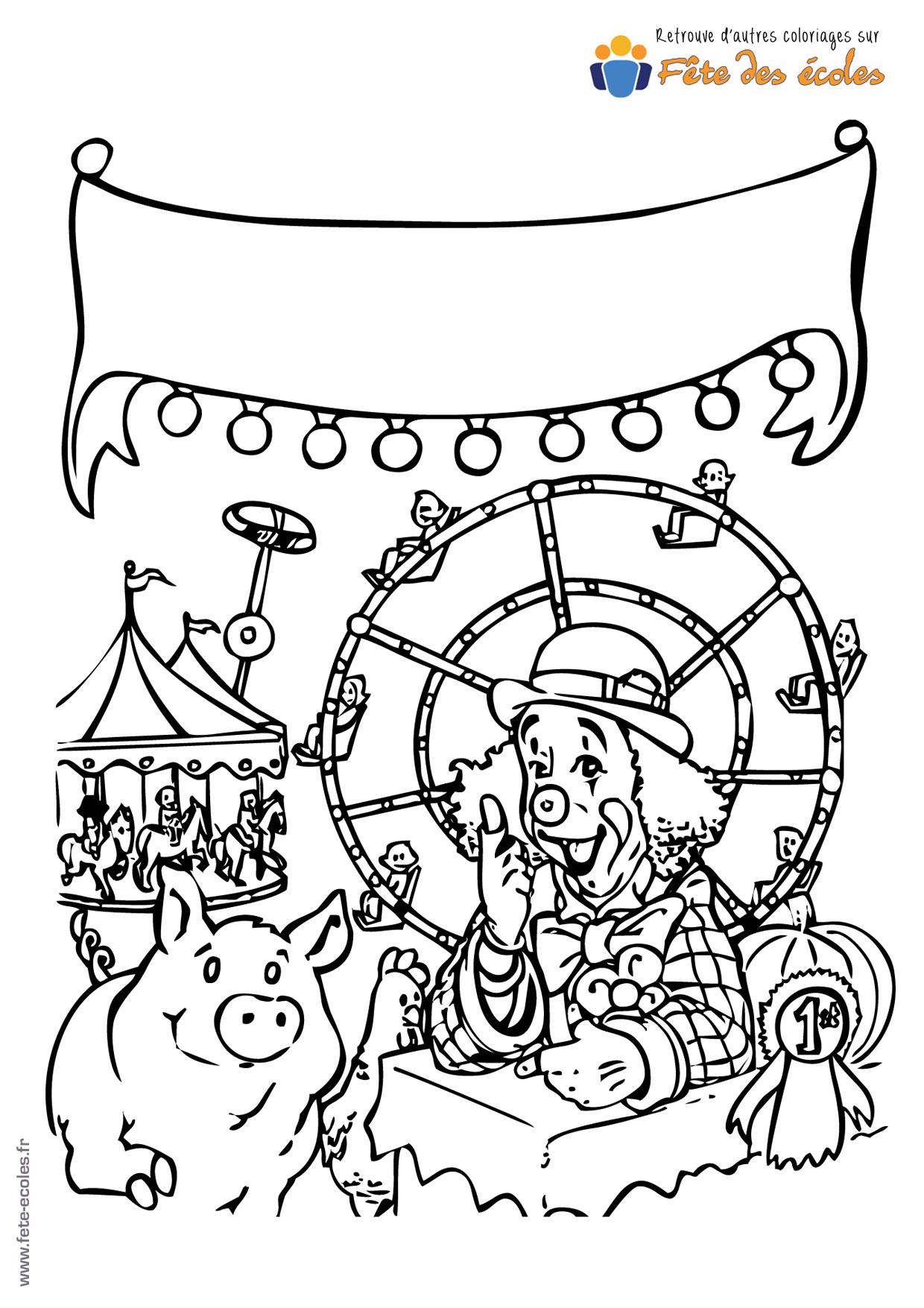 Coloriage Tete De Cochon.Coloriage D Un Clown Et Son Cochon