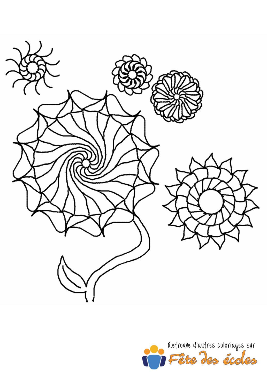 Coloriage De Mandala Fleurs