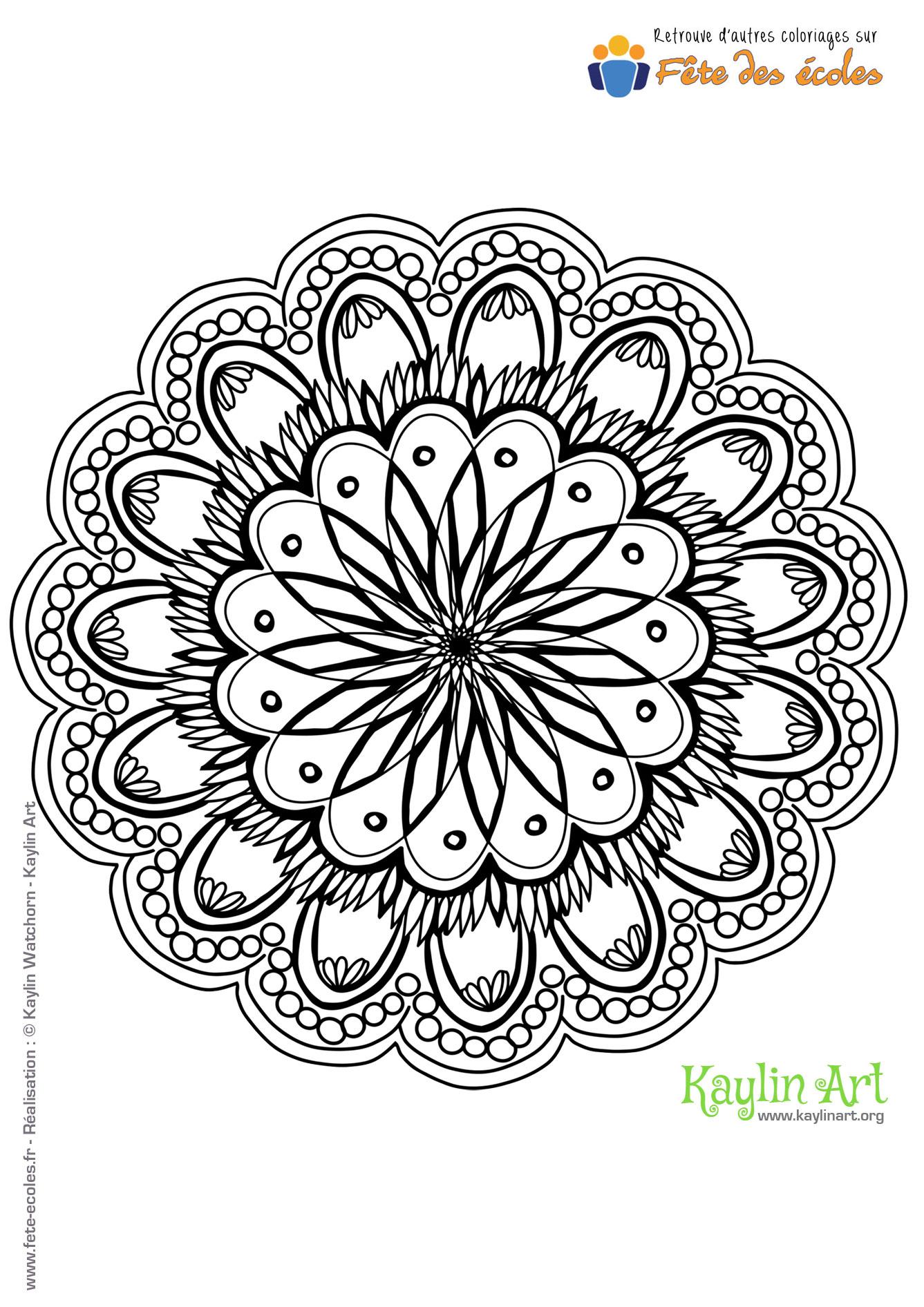Coloriage mandala fleurs - Coloriage fleur mandala ...
