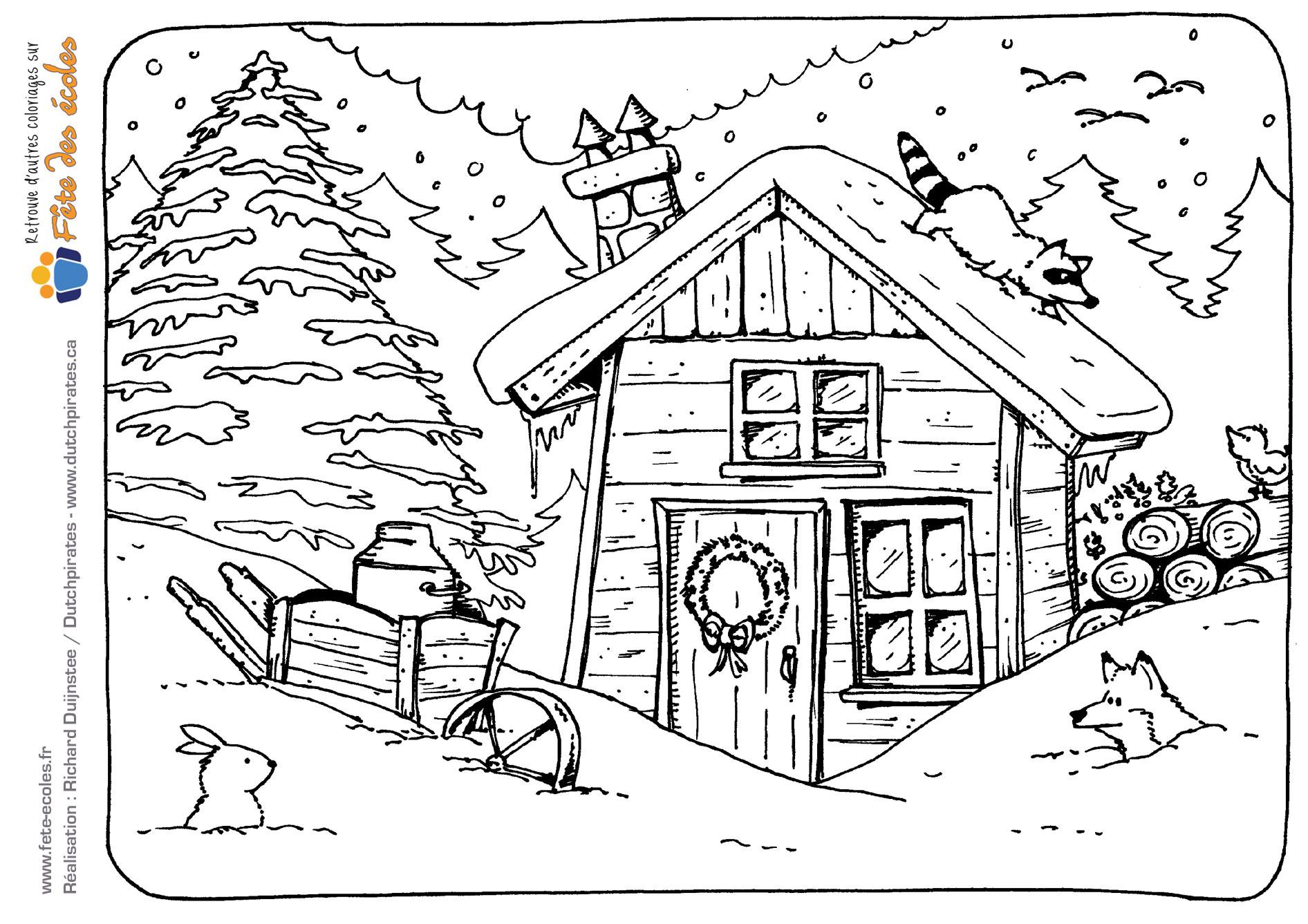 Coloriage d 39 une cabane en hiver - Dessin cabane ...