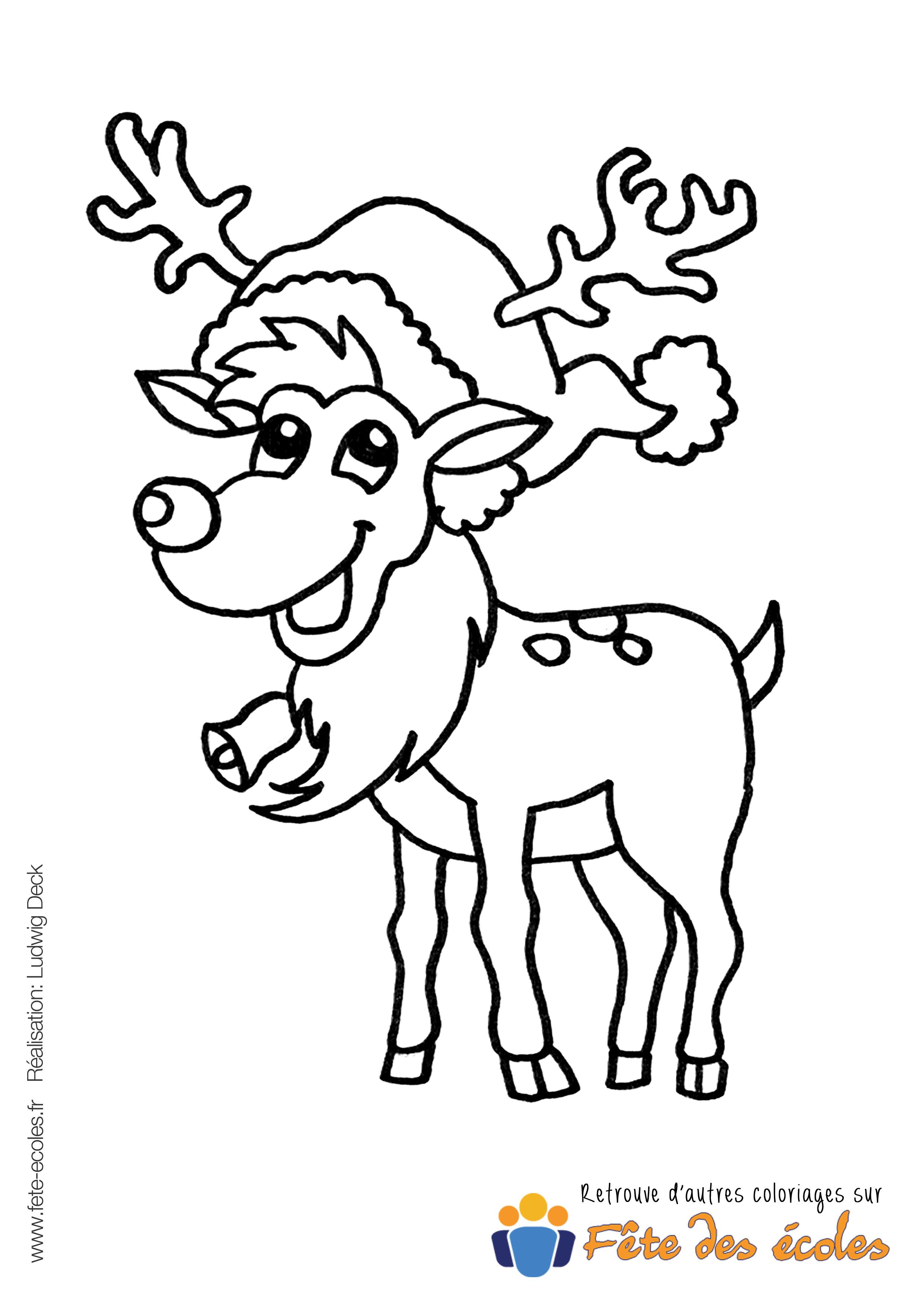 Coloriage de rudolphe le renne - Dessin de renne au nez rouge ...