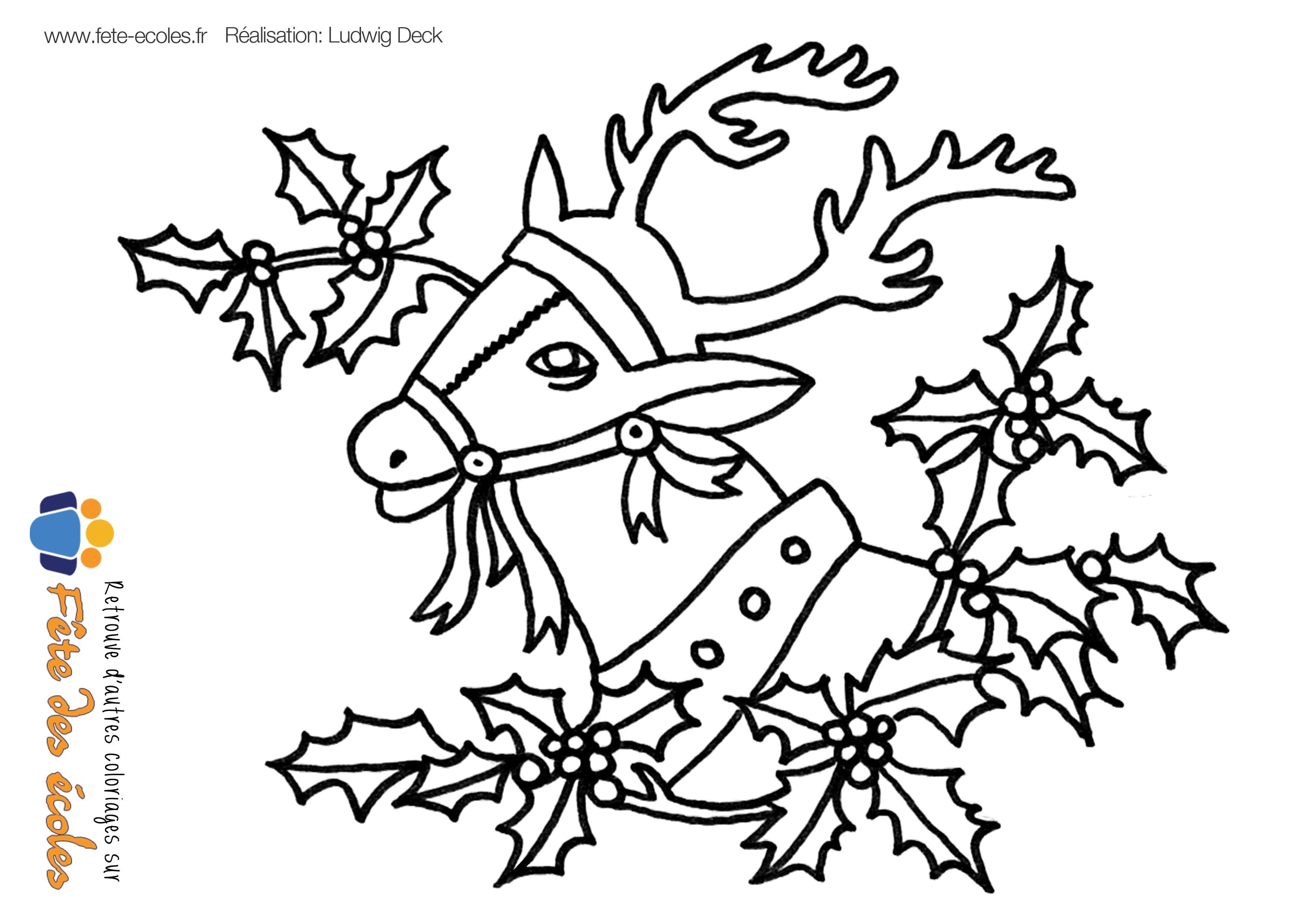 Coloriage d 39 un renne dans une couronne de gui - Dessin d un pere noel ...