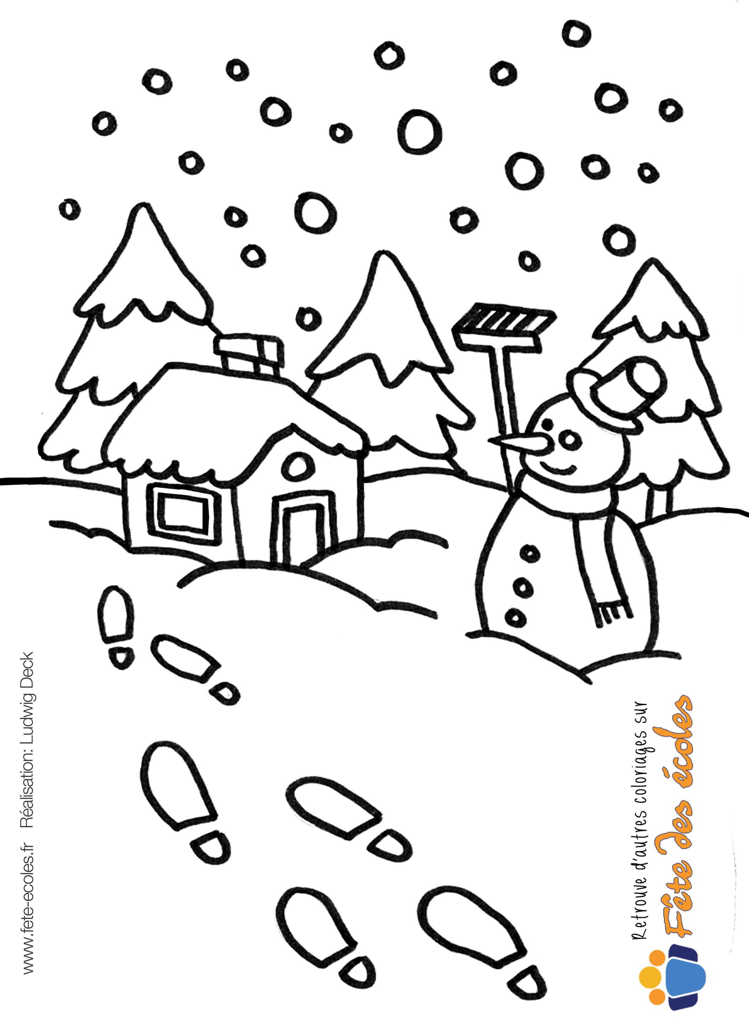 Coloriage d'une maison sous la neige