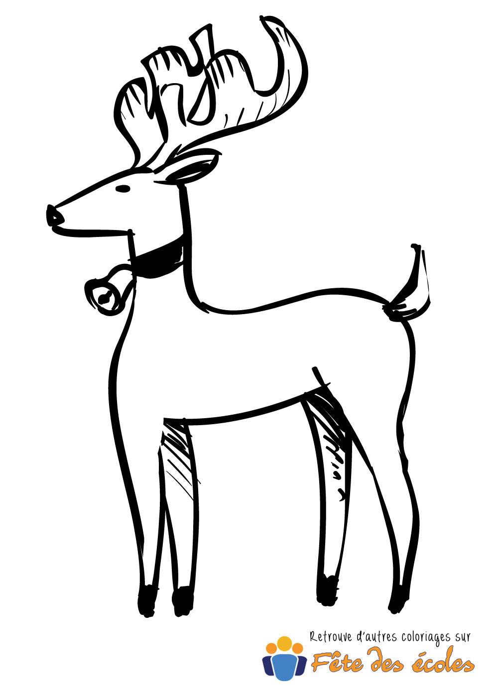 Coloriage d 39 un renne de no l avec sa cloche - Dessin d une cloche ...