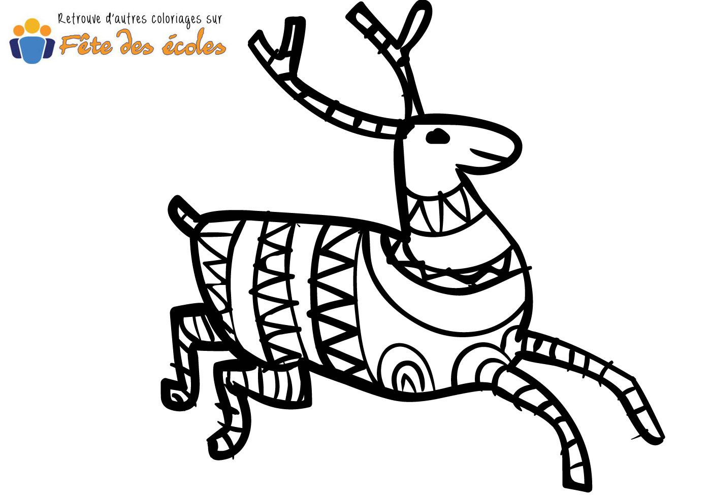 Coloriage d 39 un renne avec pull - Renne coloriage ...