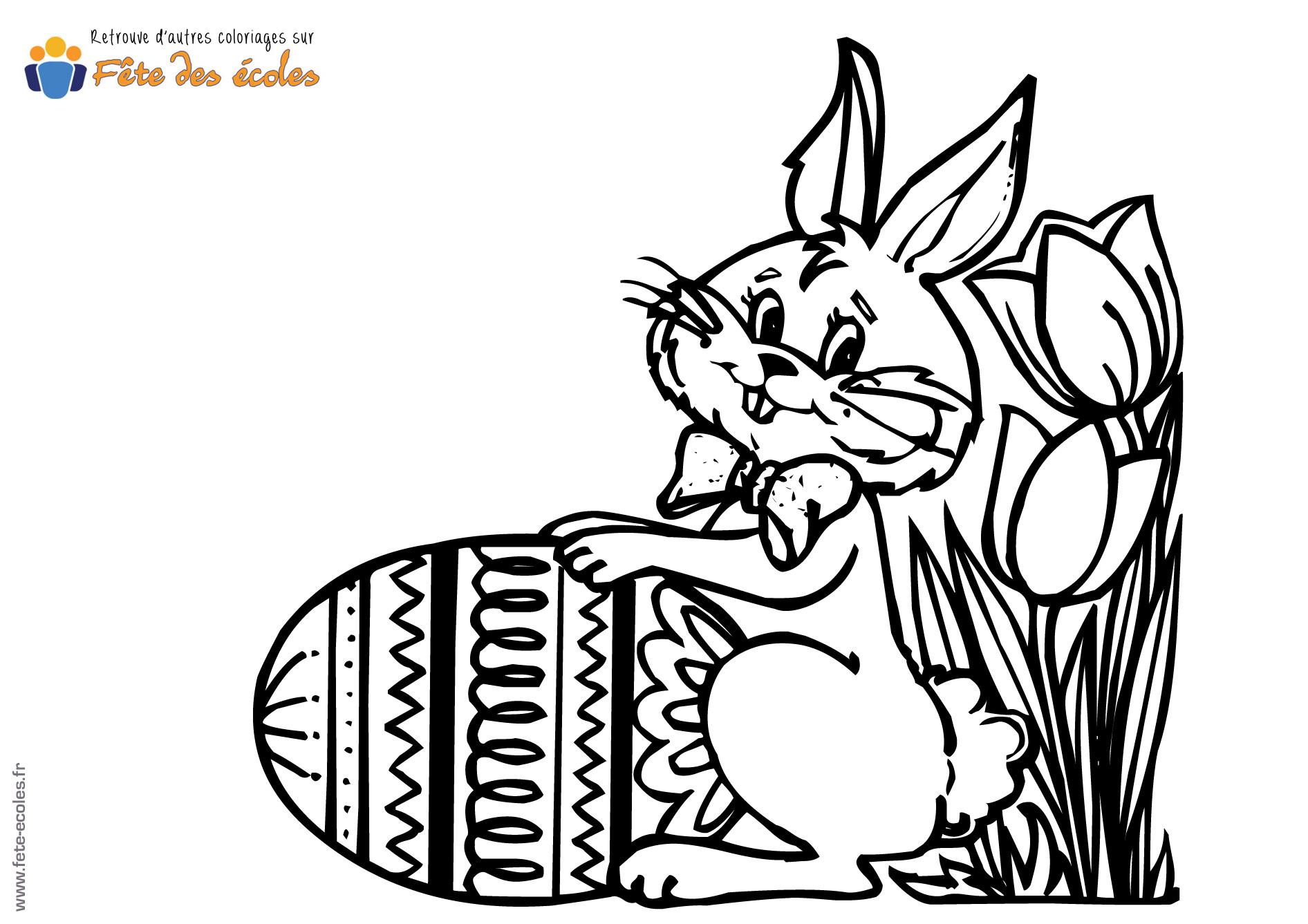 Afficher les l ments par tag oeufs - Coloriage lapin fleur ...