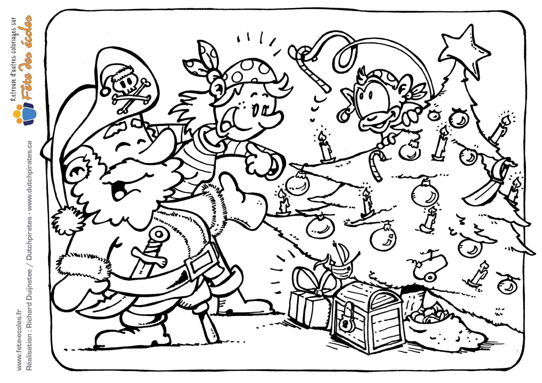 Coloriage de pirates qui célèbrent Noël de Dutchpirates - Richard Duijnstee