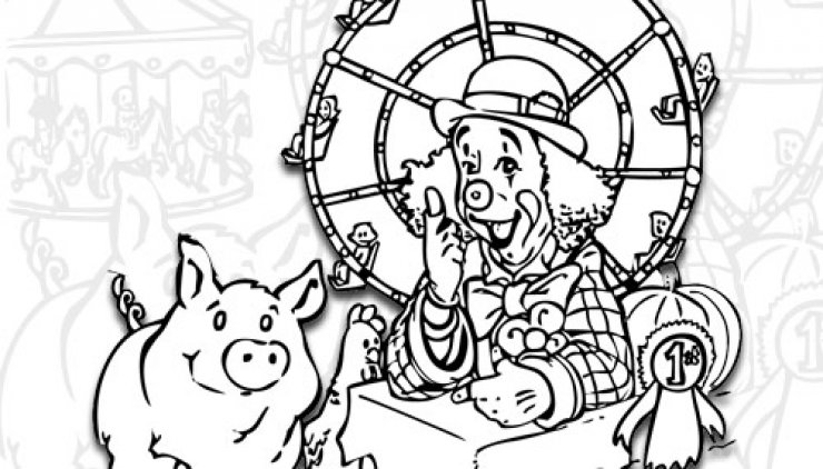 Coloriage d'un clown et son cochon