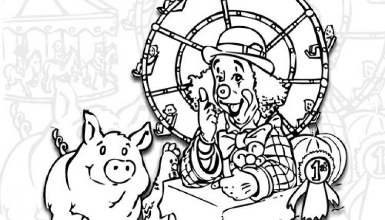 Coloriage d 39 un clown et son cochon - Dessin d un cochon ...