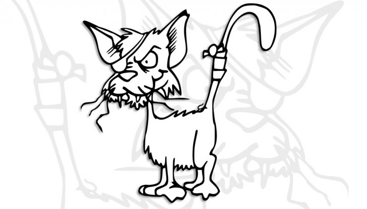 Coloriage d'un chat pirate