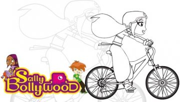 Coloriage de Sally Bollywood en vélo