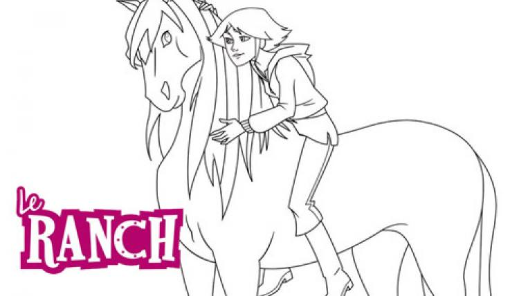 Coloriage Cheval Le Ranch.Coloriage Le Ranch Lena Et Sont Cheval Mistral