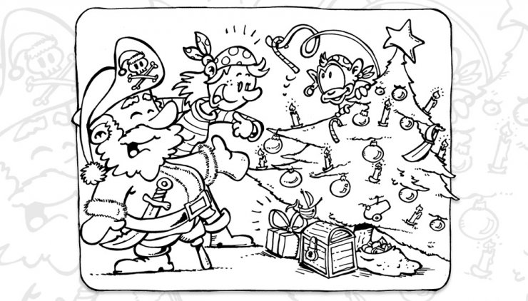 Coloriage pirates qui fêtent Noël