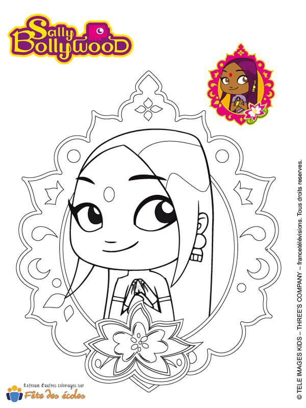 Le badge de Sally Bollywood en coloriage