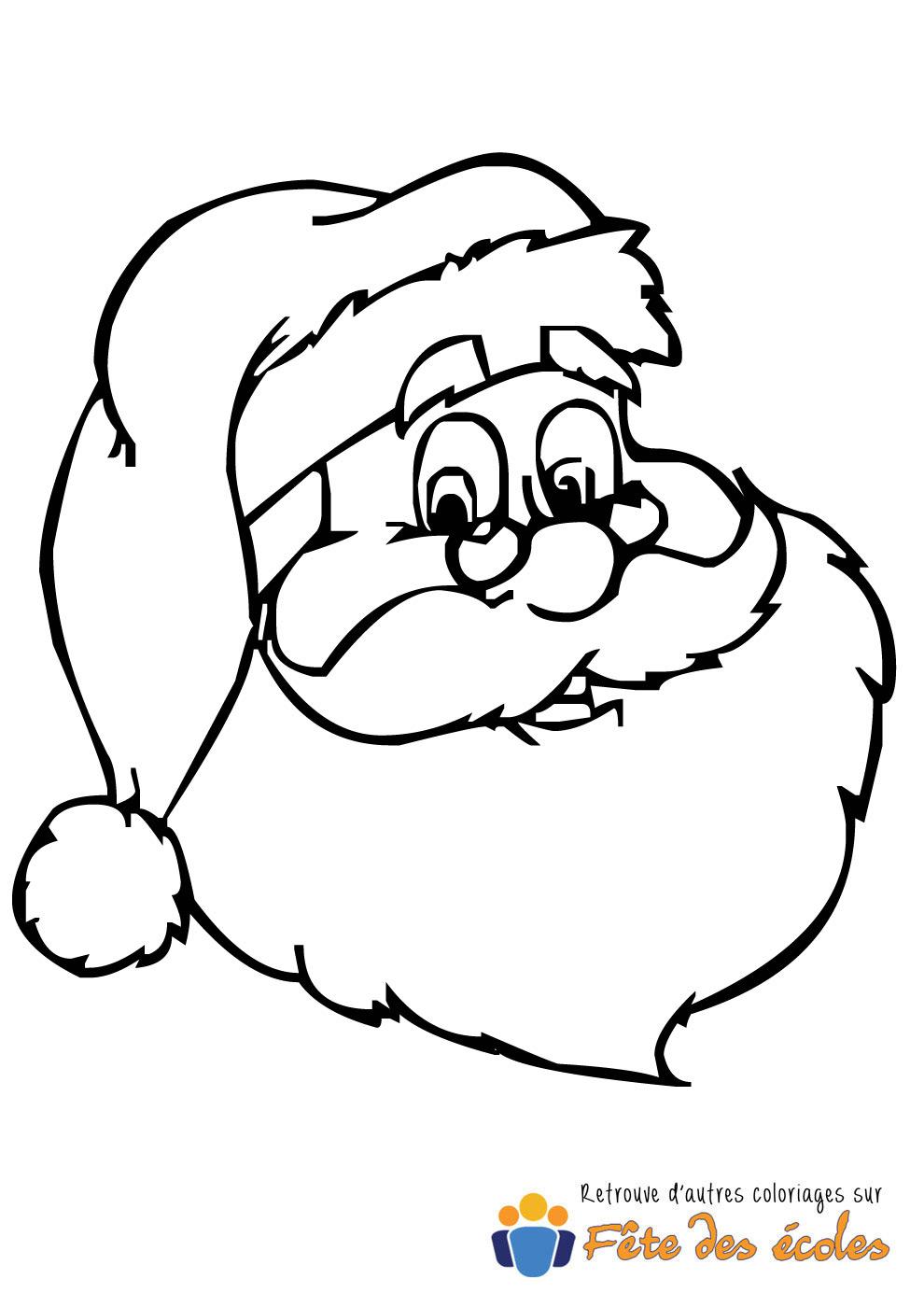 Coloriage du portrait du Père Noël