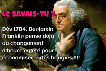 LE SAVAIS-TU ? : Changement d'heure et Benjamin Franklin